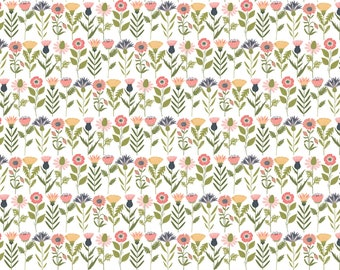 Daisy Mae by Poppie Cottons DM20106 Fresh Cuts White - WOVEN FABRIC - Sold by the 1/2 Yard