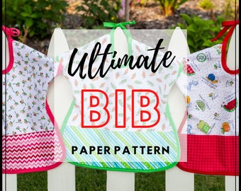 Ultimate Toddler Bib - PAPER PATTERN - Reversible - Designed by Shabby Fabrics