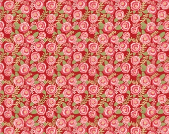 Kaisley Rose Red Rosalie Rose Fabric - POPPIE COTTON- Sold by the 1/2 Yard