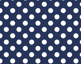 Riley Blake Cotton Woven Quilting and Apparel Fabric - Medium Dot Navy - Sold by the 1/2 Yard