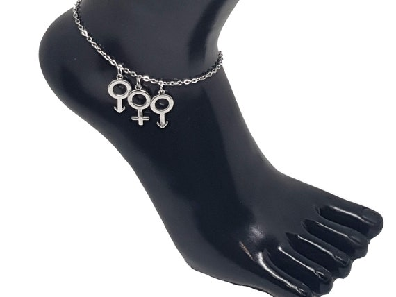 Hotwife Anklet /'BI/' Sexual Euro Ankle Chain Jewellery Swinger Fetish Lifestyle