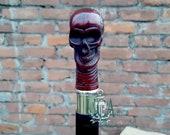 Wooden Walking Stick , Red Bone Skull Head Handle Cane
