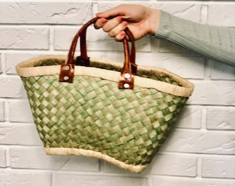 Gorgeous HANDMADE AFRICAN CORWITH with genuine leather handles | small shopping basket | small beach basket | ideal for office | Size S