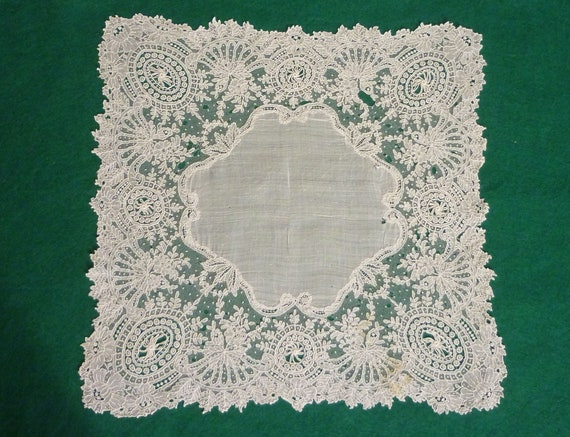 Antique French Lace Marriage Handkerchief c1800s