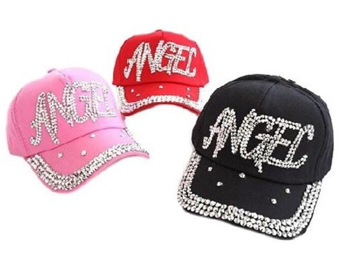 Rhinestone Angel Bling Women's Girl's Baseball Cap Hat
