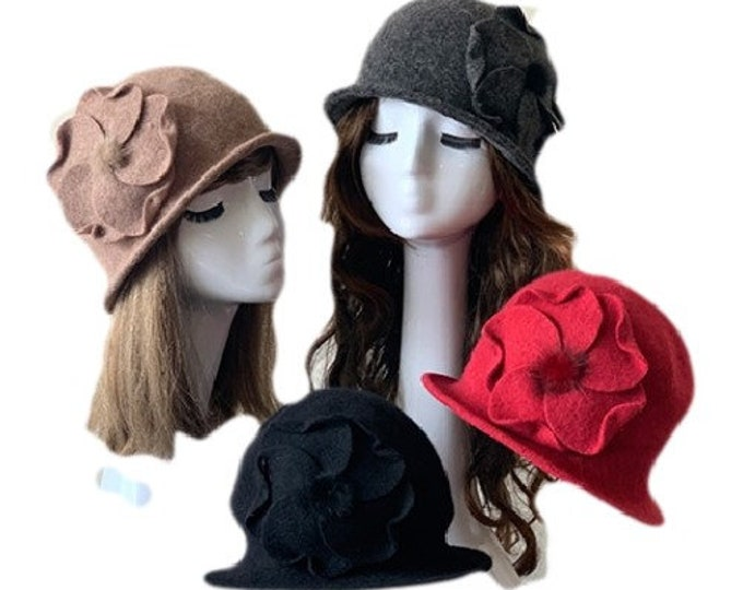Chic Flowers Ladies 1920's Winter Wool Cap Bucket Church Hat