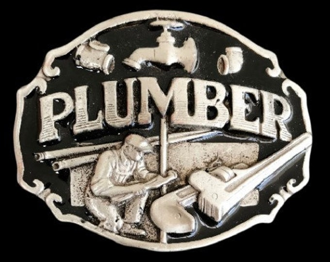 Plumber Pipe Wrench Pipes Border Tools Occupational Belt Buckle Buckles
