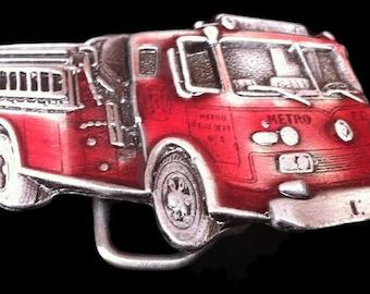 Vintage Red Fire Truck Fireman Fire Fighther Belt Buckle