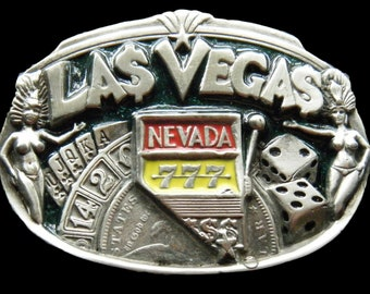 Las Vegas Sin City Casino Black Jack Gambler Belt Buckle