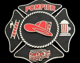 Pompier Fireman Fire Fighter Red Hat And Tools Belt Buckle