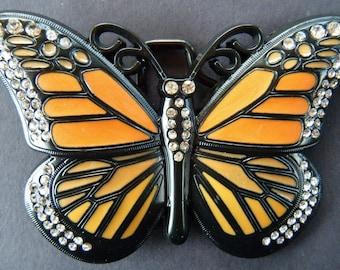 Orange Rhinestone Glitter Butterfly Butterflies Fashion Belt Buckle Buckles