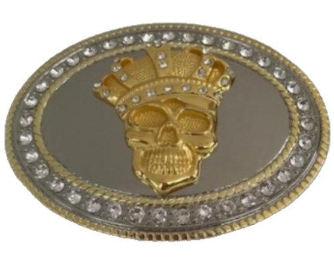Bling Rhinestones King Skull Head Gold Chrome Belt Buckle Buckles