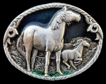 Western Wild Horse Pony Cowboy Rodeo Pewter Belt Buckle