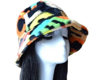 Faux Fur Women's Funky Colorful Winter Bucket Hats Thick Warm Outdoor