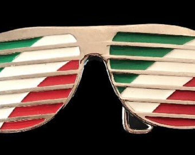 Italy Flag Sun Glasses Shades Shutter Cool Belt Buckle