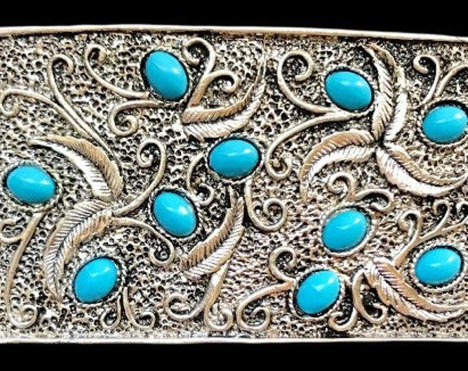 Flower Turquoise Stone Blue Native Indian Art Belt Buckle Buckles