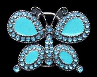 Butterfly Rhinestones Turquoise Blue Fashion Belt Buckle Boucle De Ceinture