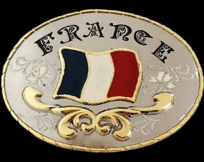 France French Flag Western Oval Belt Buckles
