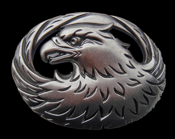 Wild Indian Head And Feathers Flying Eagle Belt Buckle
