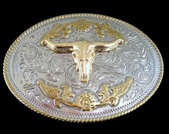 Two Toned Gold Silver Longhorn Steer Bull Western Belt Buckle Buckles