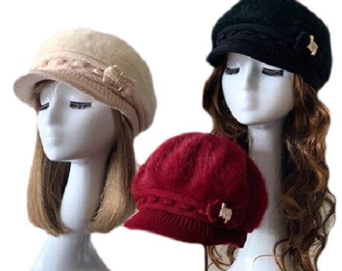 Angora Knit Hat Brim Baggy Slouchy Crocheted Newsboy Winter Visor Cap With Bow