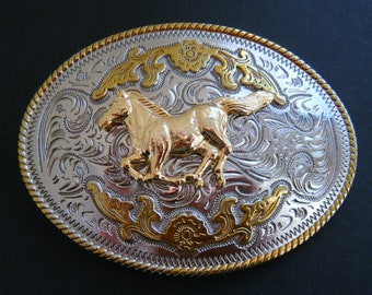 Two Toned Gold Silver Horse Animal Western Belt Buckle Buckles