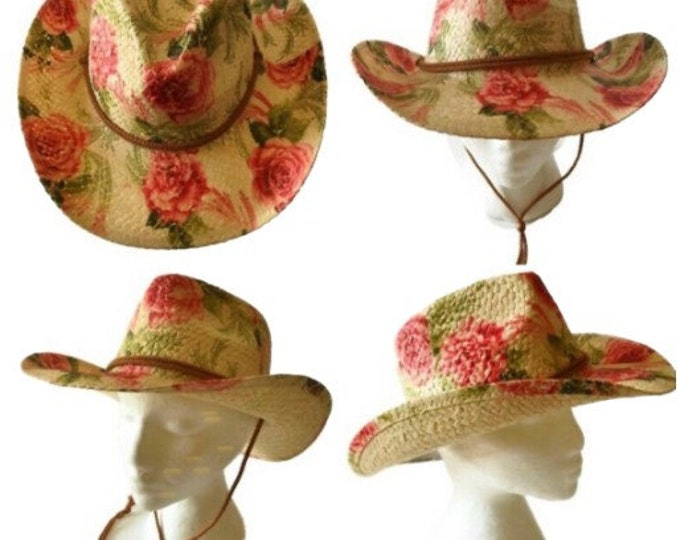 Floral Roses Straw Hat Summer Outdoor Women's Western Cowboy Breathable Hats