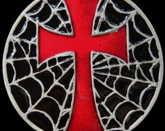Red Crusaders Spider Web Gothic Cross Belt Buckle
