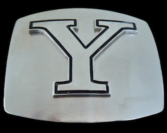 Initial Y Letter Name Tag Monogram Chrome Belt Buckle Buckles