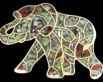 Unique Stone Filled Plaque Elephant Mosaic Belt Buckle Buckles