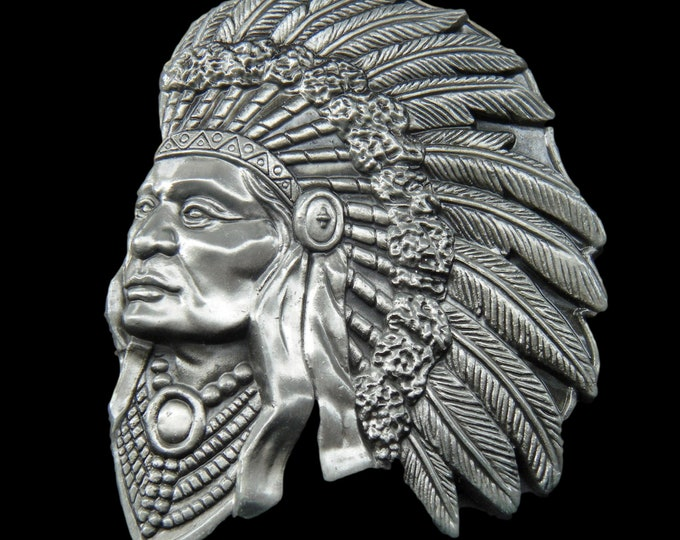 Native American Indian Chief Warrior Feathers Belt Buckle Buckles