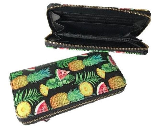 Premium Pineapples Fruit Colorful Zip Around Women's Clutch Wristlet Wallet