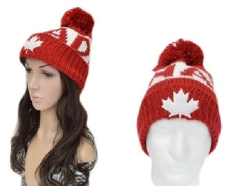 Canada Canadian Maple Leaf Red White Unisex Knitted Winter Hat