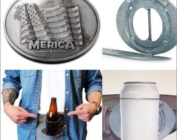 "Beer Bottle Can Beverage Holder USA American Flag ""Merica Belt Buckle Buckles"