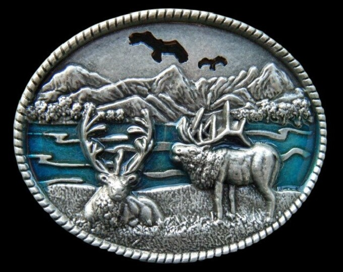 Moose Caribou Deer Elk Reindeer Alaskan Manitoba Hunter Hunter's Hunting Season Equipment Belt Buckle Buckles