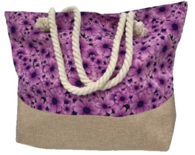 Large Capacity Zipper Handbag Shopping Travel Tote Shoulder Floral Beach Bags