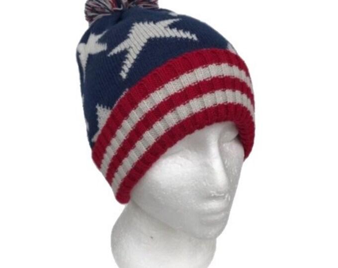 American Flag Beanie USA Red White & Blue Knit Hat Punk Rock Snowboard Headgear
