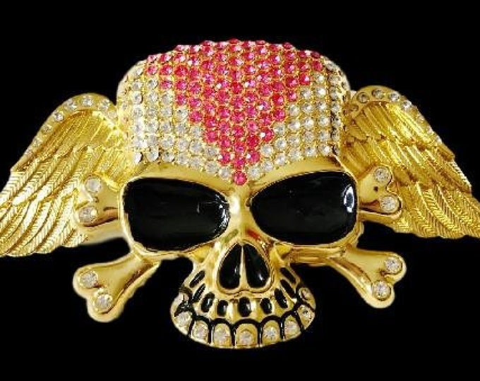 Rhinestone Skull Bones Skeleton Punk Rock Belt Buckle