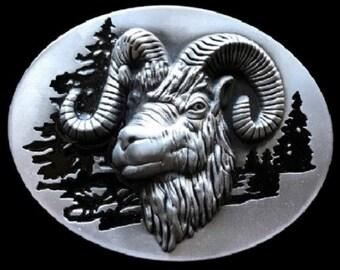Ram Capricorn Mountain Sheep Animal Belt Buckle