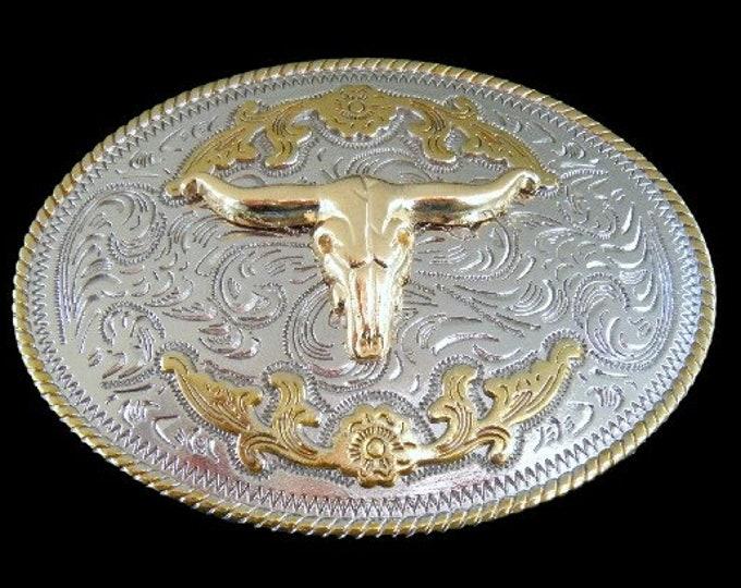 Longhorns Western Bull Feathers Rancher Belt Buckle Buckles