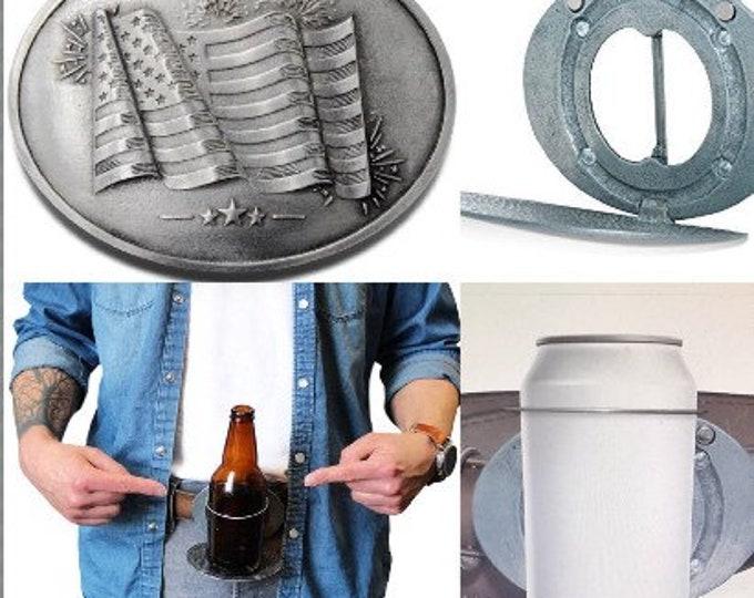 Beer Bottle Can Beverage Holder USA American Flag Belt Buckle Buckles