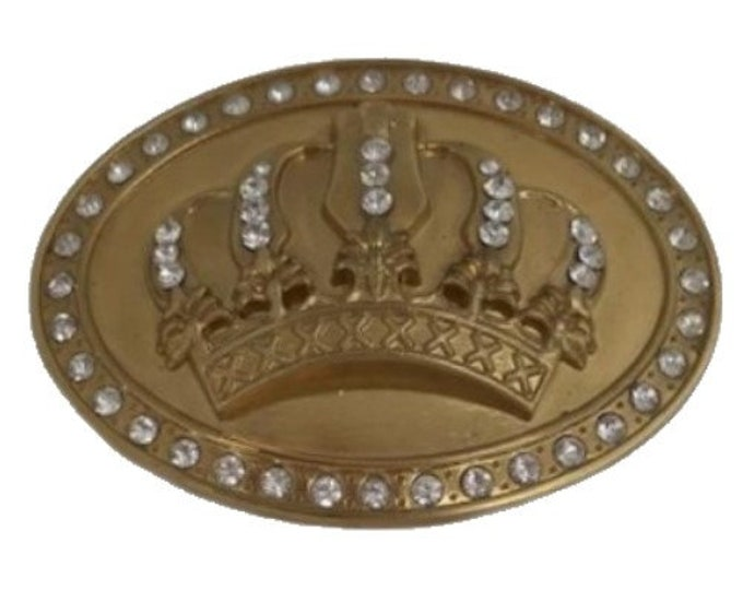 Great Fun Fashionable Belt Buckle Goldtone Crown King Queen Pimp Bling Statement