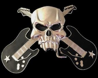 Guitar Black Guitars Skull Rock Music Star Belt Buckle Buckles