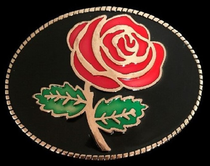 Red Rose Flower Western Cowgirl Floral Belt Buckle Buckles