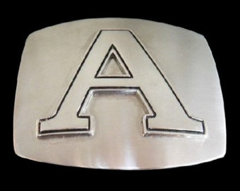 Initial A Alphabet Letter Name Tag Monogram Chrome Belt Buckle Buckles
