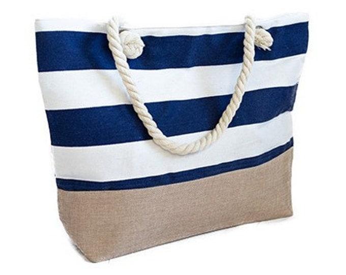 Large Capacity Zipper Handbag Shopping Travel Tote Shoulder Beach Bag Striped