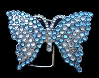 White Blue Rhinestone Flying Monarch Butterfly Butterflies Belt Buckle