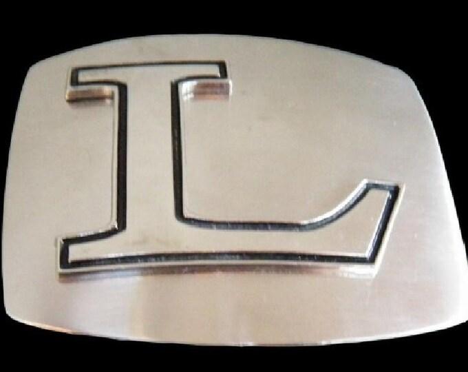 Initial L Letter Name Tag Monogram Chrome Belt Buckle Buckles