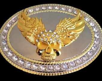 Bling Rhinestones Skull Wings Gold Chrome Belt Buckle Buckles