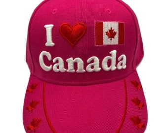 I Love Canada Adjustable One Size Fits All Baseball Embroidered Cap Hat